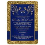 Royal blue, navy blue and gold floral 75th milestone birthday invitation with photo template.