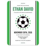 Modern soccer bar mitzvah invitations, green and black design with ball and stars