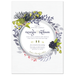 Blue Green Exotic Flowers Wedding Invitation