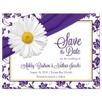 White daisy and royal purple floral damask and ribbon personalized wedding save the date postcard front