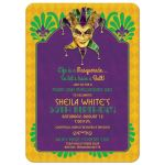 Purple, green, and gold Mardi Gras Masquerade Ball 50th birthday party invitation front