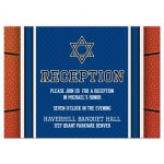 Sports blue and orange jersey basketball Bar Mitzvah reception insert card front