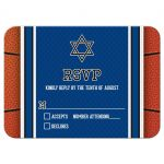 Sports blue and orange jersey basketball Bar Mitzvah RSVP card front