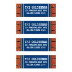 Sports blue and orange jersey basketball Bar Mitzvah return address mailing labels