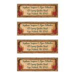 Personalized rustic simulated burlap with hunter green, orange, and brown wedding return address labels with dried autumn leaves on aged paper.