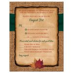 Rustic burlap wedding RSVP enclosure cards with meal selections and a hunter green ribbon, a golden twine bow, and burnt orange, red and rust autumn leaves on it.