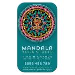 Gold Yoga Goddess Colorful Mandala Teal Business Card