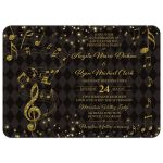 Elegant black and gold harlequin music wedding invitation front