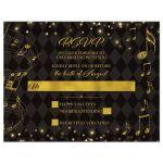 Elegant black and gold harlequin music wedding RSVP card front