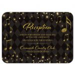 Elegant black and gold harlequin music wedding reception card front
