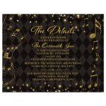 Elegant black and gold harlequin music wedding details card front