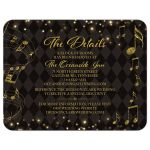 Elegant black and gold harlequin music wedding details card front