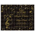 Elegant black and gold harlequin music wedding save the date card front