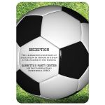 Black, white and green Soccer or Football Bar Bat Mitzvah invite with soccer ball, grass, Star of David and Hebrew name.
