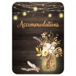 Rustic wedding accommodations enclosure card insert with brown wood, mason jars, string lights and ivory, yellow, and orange flowers, foliage, and feathers for an autumn bohemian wedding.