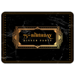 Black Marble and gold 75th Birthday Invitations