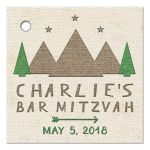 Green, ivory, and brown tent canvas style camping Bar Mitzvah favor tags front