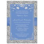 Cornflower blue or periwinkle blue and silver gray grey wedding invitation with flowers ribbon, bow, jewels, glitter and joined hearts brooch.