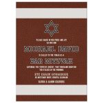 Brown, black, and white American football Bar Mitzvah invitation front