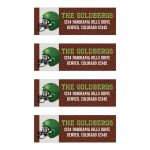 ​Brown, green, black, and white American football Bar Mitzvah address labels