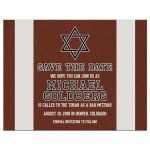 Brown, green, black, and white American football Bar Mitzvah save the date postcard front