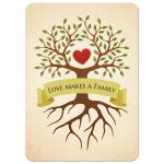 Adoption family invitations with tree, heart and text Love makes a family