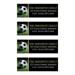 Personalized soccer or World Cup football theme Bar or Bat Mitzvah return address mailing labels with a black and white soccer ball on green grass.
