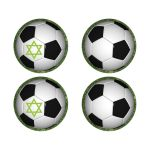 "​2"" round black and white soccer ball or World Cup football on green grass sticker with or without the Star of David."