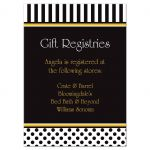 Black and white striped bridal or wedding shower gift registry enclosure card insert with polka dots and yellow accents.
