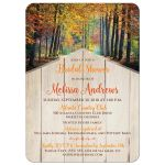 Autumn trees bridal shower invitations with tan wood and brown, orange, yellow, gold, green, and rust colored leaves.