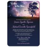 Written in the Stars wedding invitation with night sky, stars, tree, and full moon.