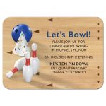 Bowling pins, bowling ball, bowling alley bowling Bar Mitzvah reception insert card