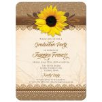 Rustic graduation invitation with sunflower, burlap, lace, and wood front