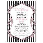 Chic Eiffel Tower or Paris themed pink, black and white graduation party invitation front