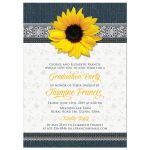 Country denim, lace and sunflower graduation party invitation front