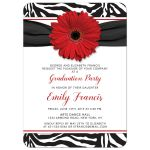 Chic black and white zebra print and red daisy graduation party invitation