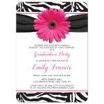 Chic black and white zebra print and pink gerbera daisy graduation party invitation