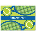 Tennis thank you cards, blue and green design with rackets and tennis balls