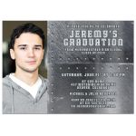 Grunge metal and rivets photo graduation party invitation for a man or boy front