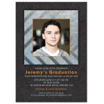 Grunge grey and orange metal photo graduation party invitation for boy man front