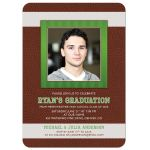 Brown, green and white American football photo graduation party invitation front
