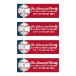 Red, white, and blue Baseball or Softball return address mailing labels with Star of David and personalization with fun, sports theme fonts in white ink.