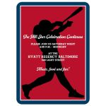 Baseball or Softball theme Bar Mitzvah invitation in red, white, and blue with Star of David.