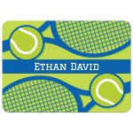 Tennis note cards with personalized name, blue and green design with rackets and balls