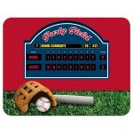 Baseball or Softball theme Bar Mitzvah reception or party invitation in red, white, and blue with a scoreboard, baseball glove, baseball bat, and baseball with Star of David.