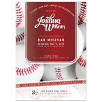 Baseball Bar Mitzvah Invitations - Red and White theme