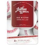Baseball Bar Mitzvah Invitations - Red and White theme