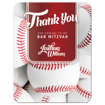 Red White • Baseball Bar Mitzvah Thank You Card