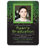 Gamer video game computer pixel photo graduation party invitation in green, black, and grey
