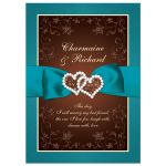 Teal, brown, and cream floral wedding invitation with ribbon, bow, glitter, jewels, joined hearts, and decorative scrolls.